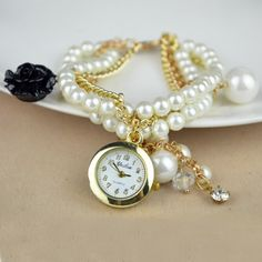 Glass #Pearl #Wrap #Watch, for Woman & with #Rhinestone, The Best Choice as a Gift.