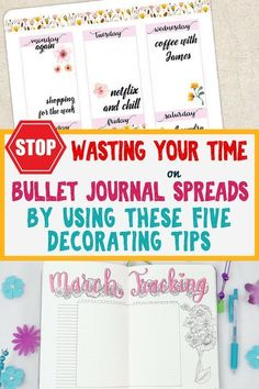 Bullet journal decoration ideas- learn how to save time and energy when decorating your bujo spreads! Learn my favorite stationery supplies that make creating beautiful bullet journal layouts fast and easy. Bullet Journal Spread, Bullet Journal Layout, Bullet Journals, Art Journals, Bullet Journal Printables, Journal Template, Bullet Journal Decoration, Guide, Save Energy