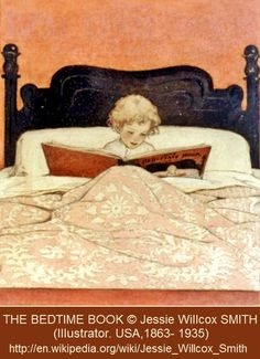 THE BEDTIME BOOK © Jessie Willcox SMITH (Illustrator. USA,1863- 1935). More on the artist:  http://en.wikipedia.org/wiki/Jessie_Willcox_Smith   One of the best reading spots...
