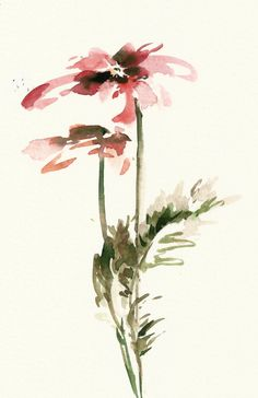 Red Florals watercolor painting Original Painting by CanotStop