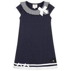 Le Chic - Girls Blue Dress with Stripy Ruffle | Childrensalon