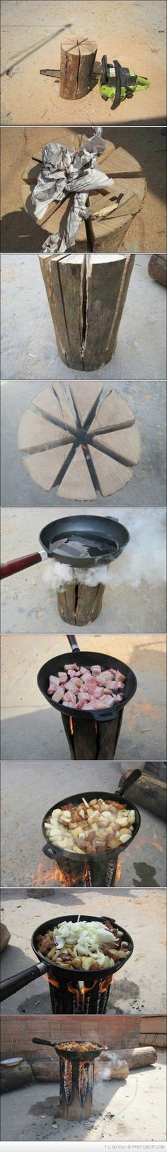 Cooking like a champ... All you need is a log, a chainsaw, and a pan... Then sit back and look awesome.