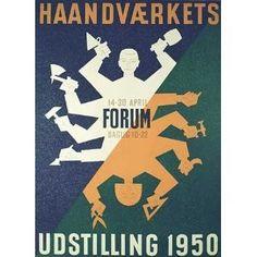 1950's Danish Denmark Crafts Fair Original Vintage Antique Poster