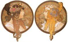 A. Mucha - Têtes Byzantines: la Blonde, la Brune