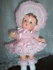 "Vintage Pink Cotton Organdy Repro1940s Effanbee 13"" Candy Kid Dress~Bonnet~Pants"