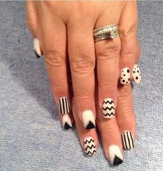 white acrylic nails with designs