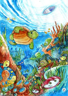 Children's Books - Turtle Underwater Scene    Google Image Result for http://www.luisperes.net/mat/ilustracoes_550x/Children_Book_Art_Turtle_Coral_Reef.jpg