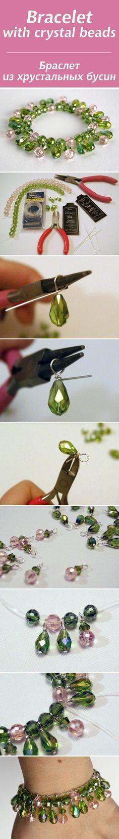 Браслет из хрустальных бусин / Bracelet with crystal beads tutorial #jewelrymaking