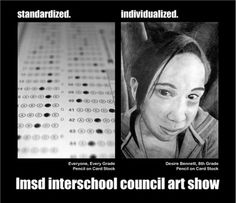 """Love Todd Marrone! Love this idea. """"Every student, every grade, pencil on card stock."""" Individualized portrait """"Student name, student grade, pencil on card stock"""""""