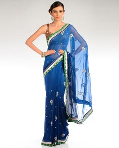 Ombre Sapphire and Midnight Blue Embellished Sari