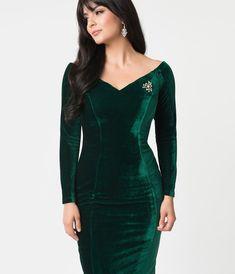 e38510dc21 Unique Vintage 1960s Emerald Green Velvet Long Sleeved Cape Cod Wiggle Dress  Cape Cod