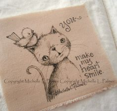 Sweet little friends find their way into my heart and I love to sketch them for you!    Original pen & ink illustrations on fabric.  February 2015