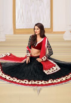 """Beautiful Lehenga  !""""Black Net flared lehenga designed with Multi Resham Work And Ready Made Laces And Beautiful Di amond Work . As shown in the photo Red And Maroon Velvet And Jacquard Net Sleeves choli is available   INR:-7670 -With Exciting 25% Discount !"""