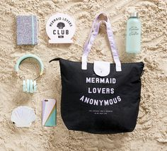 Mermaid bag, headphones, phone case, sign, drink bottle