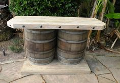 Large Hand-Made, Rustic Outdoor Wooden Double Wine Barrel Bar, built in stainless steel grill, Gas light Houston, built in grills for