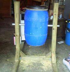 DIY compost tumbler.