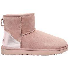 7db802365c11cb Ugg Australia Women Classic Mini Ii Metallic Shearling Boots (€230) ❤ liked  on Polyvore featuring shoes