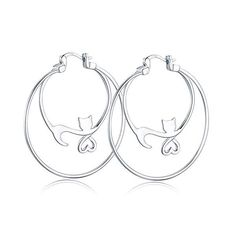 6a8bb83c2 S925 Sterling Silver Hoop Earrings Twist Round Click-Top Double Circle  Hoops Earrings - 2Tone Twisted Rope White Gold High Polished Hoops Earrings  for Women ...