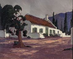 Jacob Hendrik Pierneef (South African, The Old Drostdy, Tulbagh Landscape Art, Landscape Paintings, Landscapes, South African Artists, Canada Travel, Home Art, Art Projects, Art Drawings, Art Gallery