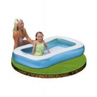 Intex Rectangle Baby Pool Size: 65.5inch L x 39.5inch W x 11inch H (166cm x 100cm x 28cm) Recommended for ages 2 years + Soft inflatable floor for comfort Capacity at 7inch wall height 27gal (102L) Repair patch included  www.kidswoodentoyshop.co.uk
