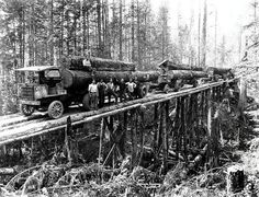 """Four Garford logging trucks carrying loads on temporary trestle, Washington state (date unknown).""  cs-cz.fb.me/pages/Time-Travelers-come-travel-back-in-time... University of Washington digitalcollections.lib.washington.edu/cdm/ref/collection/..."