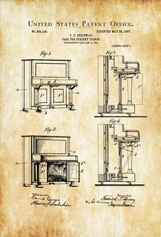 A patent print poster of a Steinway Upright Piano invented by F. The patent was issued by the United States Patent Office on May Patent prints allow you to have a piece of… Steinway Upright Piano, Wall Prints, Poster Prints, Posters, Architecture Blueprints, Patent Drawing, Photo Printer, Patent Prints, Piano Lessons