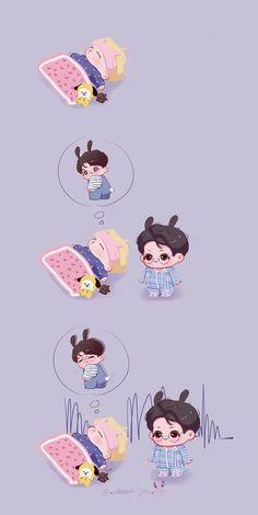 Bts Chibi, Jimin Fanart, Vkook Fanart, Bts Cute, Kpop Drawings, Blackpink And Bts, Bts Korea, Bts Fans, Cute Cartoon Wallpapers
