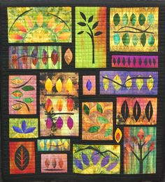 """Line and Leaves III"" by Susan Stein    43 x 47    2010 Hand-dyed cottons, fused applique    MN Quilters 2011 Faculty Exhibit"
