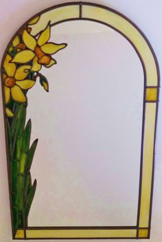 Daffodil decorative mirror ~ A bespoke Art Nouveau ~ Tiffany inspired stained glass leaded Daffodil mirror. By Douglas Payne Stained Glass Frames, Tiffany Stained Glass, Stained Glass Flowers, Stained Glass Projects, Stained Glass Windows, Tiffany Glass, Louis Comfort Tiffany, Art Nouveau, Art Deco