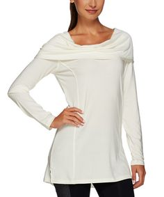 Love this Whisper White Hooded Cowl Neck Top - Plus Too on #zulily! #zulilyfinds