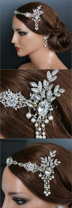 Bridal Halo Flapper Headband Vintage Wedding Gatsby Forehead Band Swarovski Crystal and Pearl AYLA
