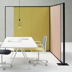 tabique amovible / de tela / de metal / para oficina