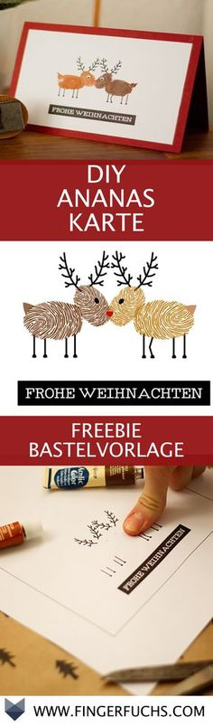 DIY Karte Rentierliebe – Kostenlose Bastelvorlage mit Fingerabdruck Make Christmas card yourself. Just print the DIY template and give it away. Diy Christmas Cards, Xmas Cards, Diy Cards, Christmas Time, Christmas Crafts, Kids Crafts, Diy And Crafts, Craft Gifts, Diy Gifts
