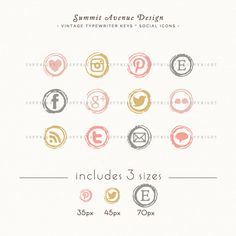INSTANT DOWNLOAD - Type Writer Keys Social Icons for your blog or website - romantic blush colors. $6.00, via Etsy.