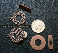 3 Copper pl 23mm 7/8 in Hammered toggle jewelry clasps bracelet necklace fpc366 #Silversmithsupply