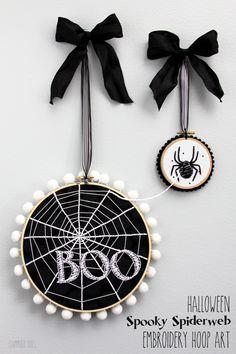 Halloween Spooky Spiderweb Embroidery Hoop Art for Halloween