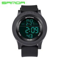 SANDA brand fashion sports watch men's fashion silicone uniform men's watch LED digital waterproof watch men's digital watch