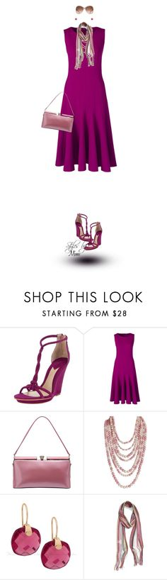 """Fuchsia Wedges (4.17.17)"" by stylesbymimi ❤ liked on Polyvore featuring Brian Atwood, Lands' End, MKF Collection, Humble Chic, Gucci and Collection XIIX"