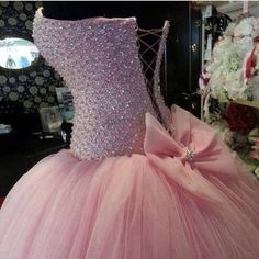 dress ball gown pink dress prom dress studded