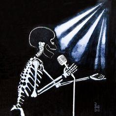 Skeleton Singing by DaniBubArt on Etsy, $10.00