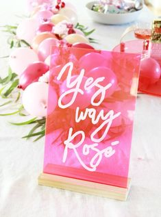 Rosé bridal shower idea - rosé DIY calligraphy acrylic sign for bridal shower {Courtesy of A Bubbly Life} Wine Tasting Party, Wine Parties, Wedding Signs, Diy Wedding, Wedding Decor, Idee Diy, Deco Table, Diy Signs, Rose