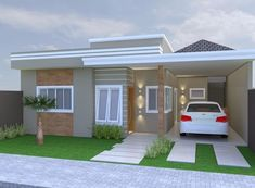 3d House Plans, 2 Bedroom House Plans, Bungalow House Design, Small House Design, Small House Exteriors, Home Structure, Modern Garden Design, House Elevation, Villa Design