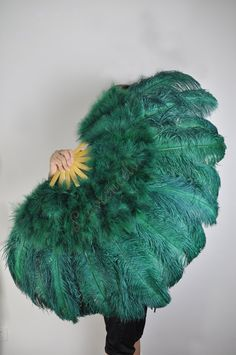 "27""x 53"" Teal Marabou & Ostrich Feathers Hand Fans With Bamboo Staves Burlesque Dance. $100.00, via Etsy."