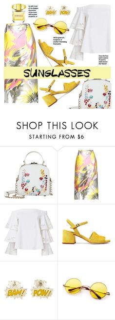 """""""Vintage Love: Retro Sunglasses"""" by nabilazfr ❤ liked on Polyvore featuring Rochas, Exclusive for Intermix, Post-It, Versace and vintage"""