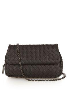BOTTEGA VENETA Intrecciato Leather Cross-Body Bag. #bottegaveneta #bags #shoulder bags #lining #suede #
