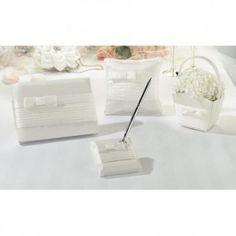 Set guestbook e cuscino portafedi con fiocco bianco