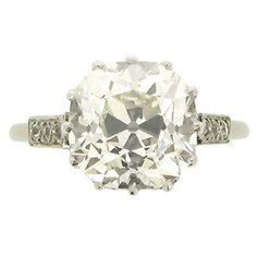 Cushion Shape Old Mine Diamond Ring
