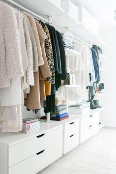 walk in closet- dressing room - IKEA - Stolmen - Ankleidezimmer - - YSL - Saint Laurent - Monogram Université - Zara - Louis Vuitton Source by room design Ikea Closet, Wardrobe Closet, Closet Bedroom, Closet Storage, Home Bedroom, Wardrobe Storage, Master Closet, Organizing Wardrobe, Clever Closet
