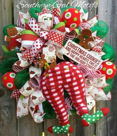Christmas Pj's and Cookies! Check out this item in my Etsy shop https://www.etsy.com/listing/488636229/christmas-wreath-christmas-pajama-wreath