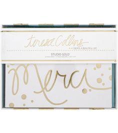 Teresa Collins Studio Gold Foiled Cards W/Envelopes 12/Pkg-Merci